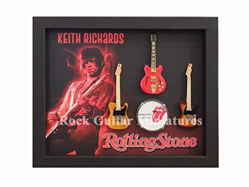 Rgm8994 Keith Richards The Rolling Stones Miniatur Gitarre Collection in Shadowbox Rahmen