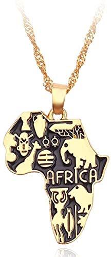 BACKZY MXJP Collar Mapa De África Collar Bandera Totem Símbolo Animal Elefante Colgante Cadena De Color Dorado Mapas Africanos Collares Mujeres Hombres Gargantilla Joyería