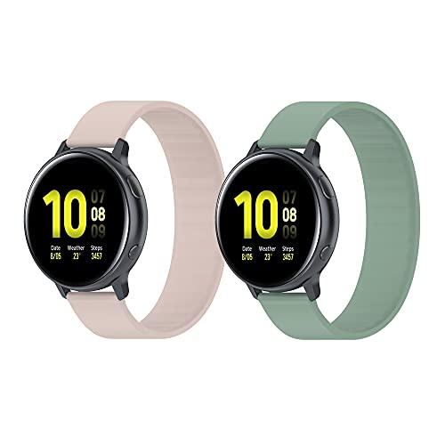BoLuo 22mm Correa para Xiaomi Haylou RT LS05S/OnePlus 2 Pcs Watch Bandas,Silicona Reloj Brazalete Correa para Yamay Sw022/Imilab Kw66/Ticwatch GTX/CXB01/Polar Grit X/Vantage M/M2 (rosa verde, 129mm)