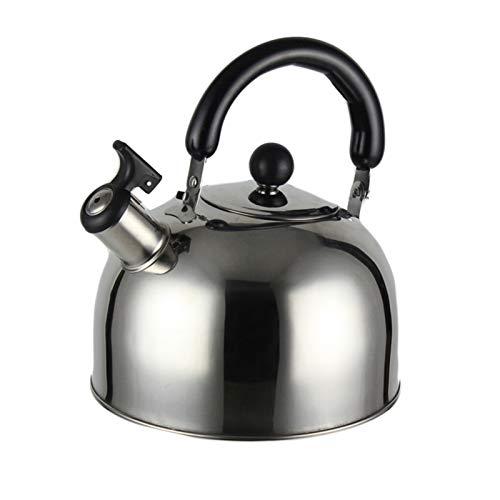 Electric oven Kettle de Silbato para Estufa Superior de Acero Inoxidable, Proceso de Pulido Tetera Tetera Ergonómica Handle Anti-Scalding 3L (Color : Silver, tamaño : 3L)