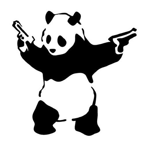 PRO CUT GRAPHICS Adhesivo de vinilo para pared, dibujo de oso panda con pistolas, diseño de Banksy