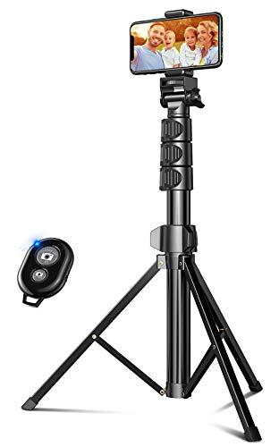 Cocoda Tripode para Movil, 142cm Tripode Palo Selfie Bluetooth Extensible Todo en Uno con Control Remoto, Selfie Stick Compatible con iPhone 12/12 Pro/12 Mini/11 Pro MAX, Galaxy S20 Cámara, Más
