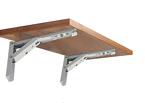 Wall Mounted Folding Shelf Brackets, Rolled Steel Triangle Table Bench Folding Shelf Bracket with Short Release Arm, Max Load: 132lb #81223-8F (2 Pack)