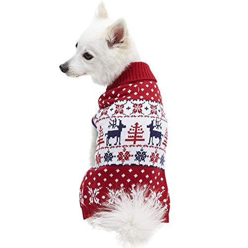 Blueberry Pet Vintage Ugly Christmas Reindeer Holiday Festive Pullover Dog Sweater in Tango Red & Navy Blue, Back Length 16', Pack of 1 Clothes for Dogs