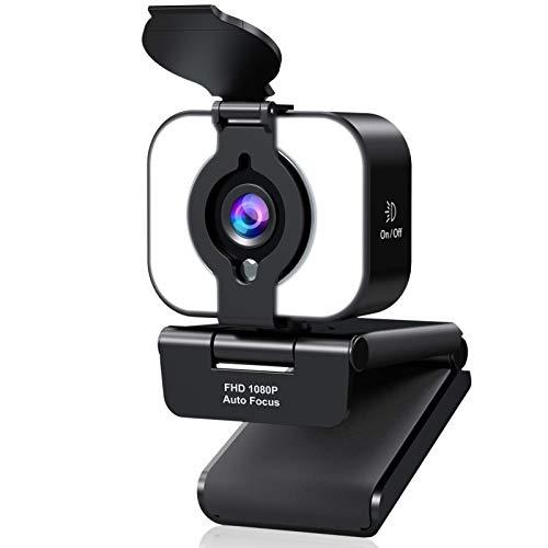 eztechny Webcam per PC con Microfono Full HD 1080P Webcam USB con Luce ad Anello per PC,Desktop,Laptop,USB 2.0 Video Camera per Videochiamate,Studio,Conferenza,Registrazione,Gioca a Giochi e Lavoro