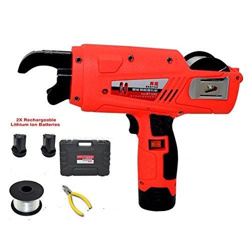 TOPCHANCES 12V Automatic Rebar Tier Tying Machine Steel Binding Machine Tool Set with Cordless Rechargeable Lithium Battery for Building Project Rebar Tier
