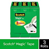 Scotch Brand Magic Tape, 3 Refill Rolls, Invisible, Cuts Cleanly, Engineered for Office and Home Use, 1/2 x 1296 Inches, Boxed (810H3)