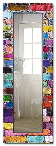Artland Ganzkörperspiegel Holzrahmen zum Aufhängen Wandspiegel 50x140 cm Design Spiegel Abstrakt Steine Steinwand Mauer Bunt J5OB
