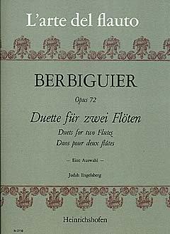DUETTE OP 72 - Arreglos para dos flauta travesera [notas / partituras] Compositor: Berbiguier Benoit TRANQUILLE