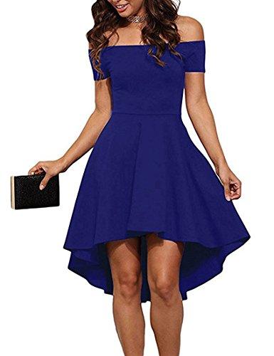 ZJCTUO Damen Kleid Abendkleid Schulterfreies Cocktailkleid Jerseykleid Skaterkleid Knielang Elegant Festlich Asymmetrisches Partykleid, E -Königsblau-v2, 44(XXL)-Bust:98cm