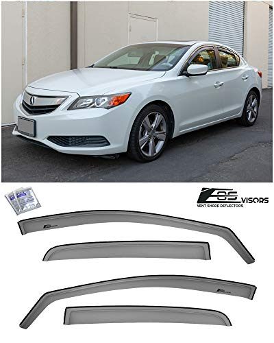 Extreme Online Store Fits All 2013-2019 Acura ILX | EOS Visors JDM in-Channel Style Smoke Tinted Side Vents Window Deflectors Rain Guards