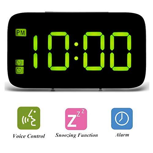 ALLOMN Digitaler Wecker, Sprachsteuerung Intelligente Reiseuhr Desktop Tisch Nachttischuhr LED Anzeige Snooze Funktion, Nachthintergrundbeleuchtung, USB und AAA Batterien Angetrieben (Grün)