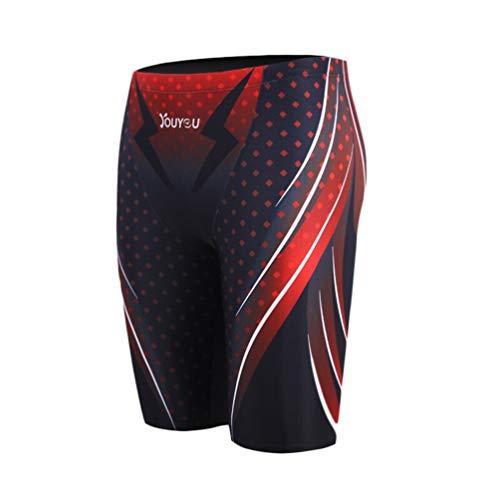 "WUAMBO Swimwear Men's Compression Swim Trunks Mens Jammer Shorts Red US L=Asian Tag 3XL(Waist:36""-39"")"