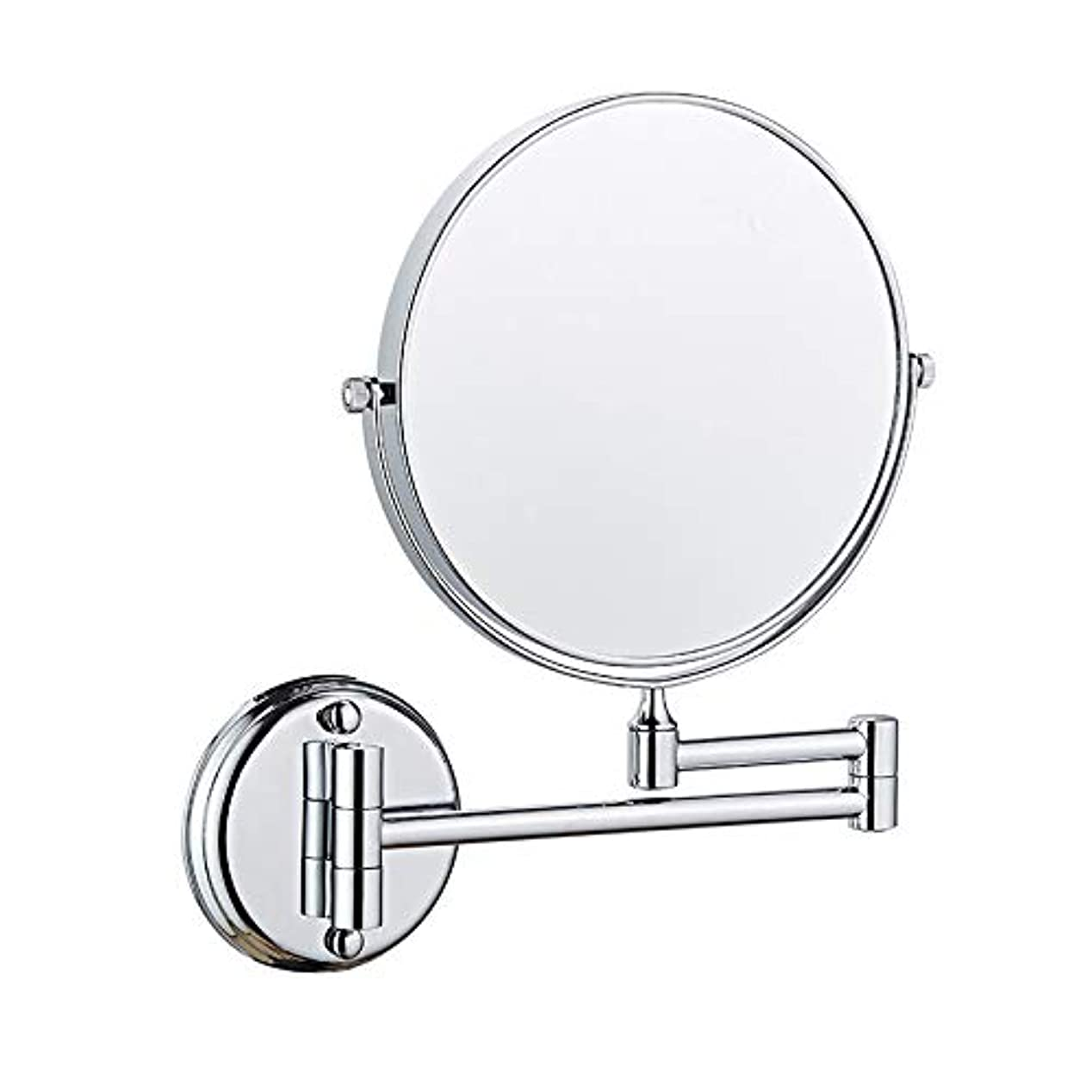 化粧鏡, バスルーム用化粧鏡, 無料調整 格納式、回転式、クロム、装飾ミラークリエイティブウォールマウントバスルームのメイクミラー 浴室用リビングルーム - 銀 8inch 5X 拡大鏡