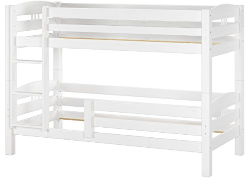 Erst-Holz® Kinderstockbett Etagenbett Kiefer massiv weiß 90x200 cm Hohes Bett Fallschutz 60.10-09WoRF