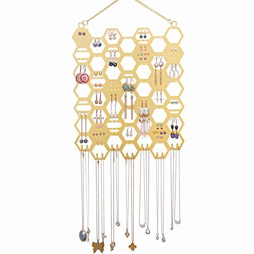 Stand per Gioielli in metallo da appendere per orecchini, orecchini, collane, porta gioielli montato a parete, 37 x 27 cm, stile a nido d'ape, colore: oro