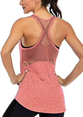 Fihapyli Workout Tank Tops for Women Sleeveless Yoga Tops for Women Mesh Back Tops Racerback Muscle Tank Tops Workout Tops for Women Backless Gym Tops Running Tank Tops Activewear Tops Coral M