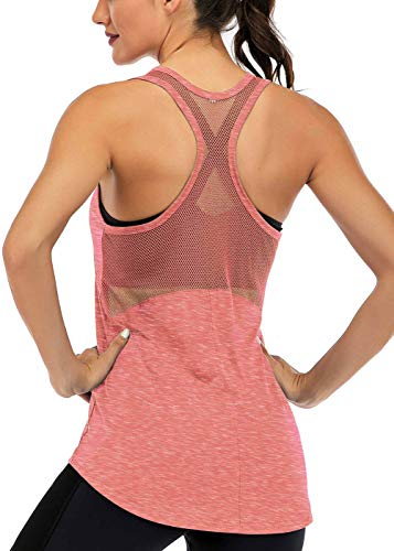 Fihapyli Women's Sleeveless Yoga Shirts Workout Tank Tops Actives Breathable Mesh Backless Tank Yoga Tops for Womens Workout Tops for Womens Open Back Racerback Tank Tops Muscle Tank Tops Coral M