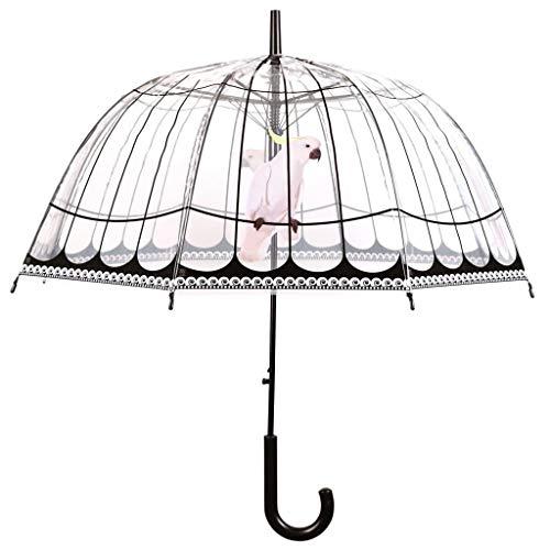 Esschert Design Regenschirm Vogelkäfig aus Polyester/Stahl, Ø 81 x 83 cm, Kunststoffgriff, transparente Schirmfläche im Vogelkäfig-Design, extra lang