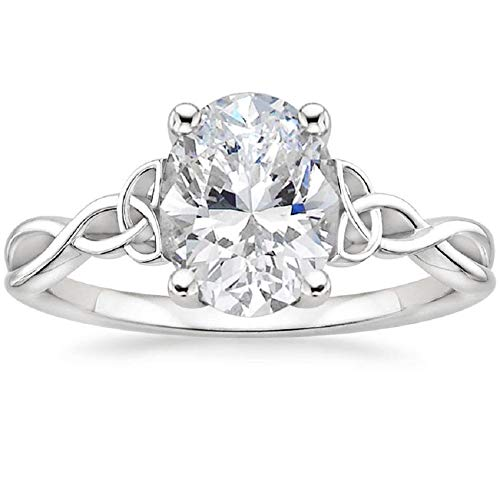 Diamondrigo Entwined Celtic Love Knot Oval Cut Moissanite Ring for Engagement, Wedding, Anniversary, Promise, Gift, Birthday (Solitaire, Art Deco, 2.35CT, VVS1, Near Colorless) (10)