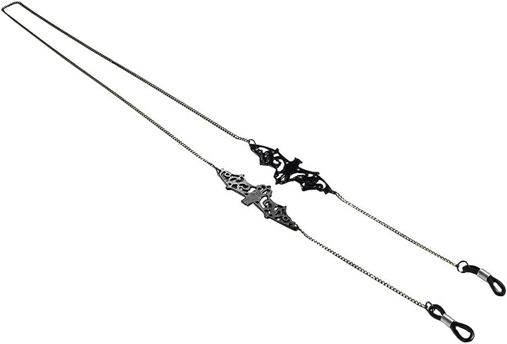 Generic Hanging Chain Non- Skid Face Rope Bat Pendant Glasses Chain Anti- lost Glasses Lanyard Creative Womens Mens Sunglasses Eyeglasses Strap Spectacles Cord Holder ( Black )