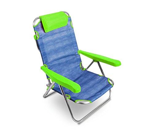 MEDIA WAVE store Spiaggina Alluminio Lime Totalmente reclinabile ONSHORE 379837 con braccioli Cuscino