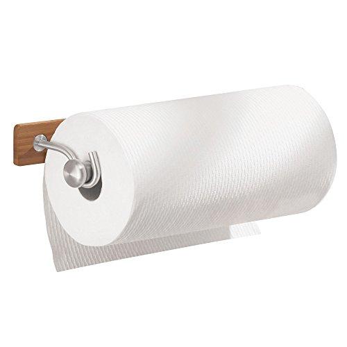 iDesign Portarrollos de cocina, sujeta rollos de bambú y acero, portarrollos de pared para 1 rollo de papel de cocina, marrón y plateado