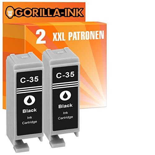 Gorilla-Ink 2 cartuchos de tinta negra XXL compatibles con Canon PGI-35   para Canon Pixma IP 100V 110 + batería 100 Portable 110 Series TR 150