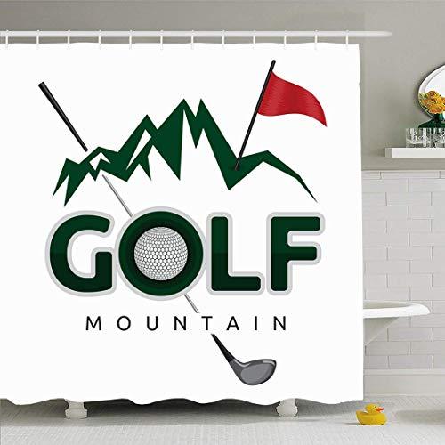 N\A Duschvorhang Set mit Haken Golfball Berg Poster Golfvorlage Clipart Ausstattung Zeichen Symbole Symbole Sport Freizeit Drive Wasserdichtes Polyestergewebe Bad Dekor für Badezimmer