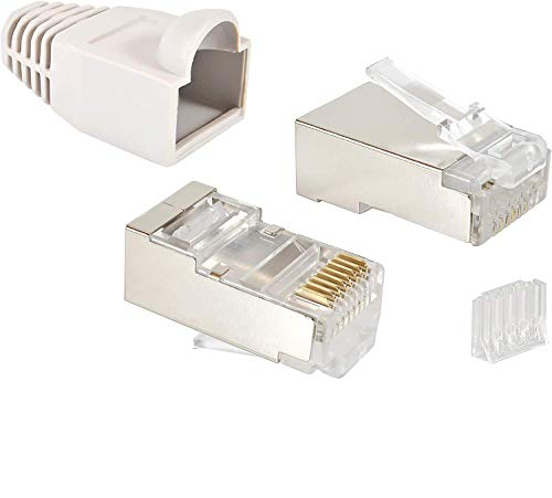 VESVITO 20er Pack RJ45 CAT 6 STP Crimpstecker für CAT6 CAT5e CAT6A Netzwerkkabel Verlegekabel AWG 24-27, für CAT7 Patchkabel AWG 27, Adern Ø 0,9-1,1 mm Netzwerkstecker Stecker Ethernet LAN Kabel, grau
