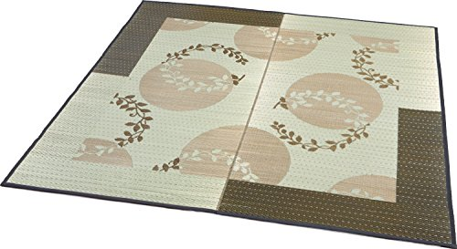 大島屋い草ラグイ草袋織ラグレヴェリー約3帖フローリング対応い草ブラウン約191×250cm