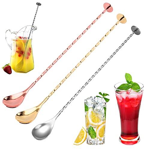 HomeDejavu 3 Cucchiaio da Cocktail Cucchiaio Miscelazione in Acciaio Inox Cucchiai da Cocktail con Manico Lungo a Spirale Adatto per Casa e Bar 10,75 Pollici (Oro Argento Oro Rosa)