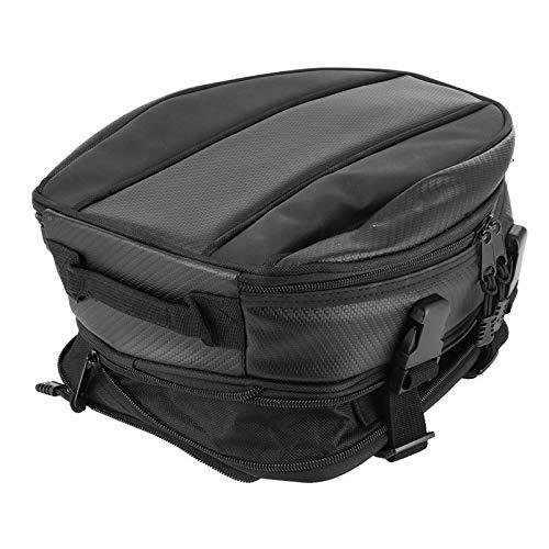 Bolsa de asiento trasero para moto, tejido Oxford, bolsa de sillín de moto, mochila de almacenamiento, multifuncional, impermeable, color negro