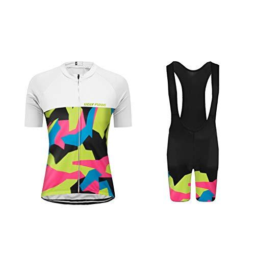 Uglyfrog Radtrikot Damen Kurzarm Fahrradbekleidung Set Outdoor Sports Radfahren Jersey + Radfahren Latzhose Shorts im Sommer Stilaktualisierung