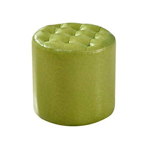 WLL- Tabouret en cuir Canapé Tabouret Tabouret en cuir Tabouret carré Chaussures Banc Table basse Tabouret Salon Petit tabouret Tabouret de maquillage (vert) (Color : Round)