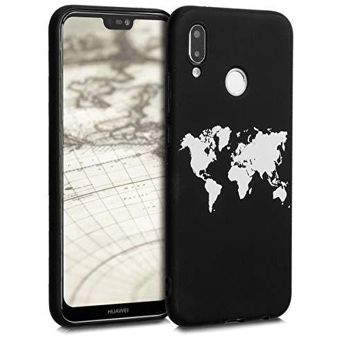 kwmobile Funda Compatible con Huawei P20 Lite - Carcasa de TPU Mapa del Mundo en Blanco/Negro