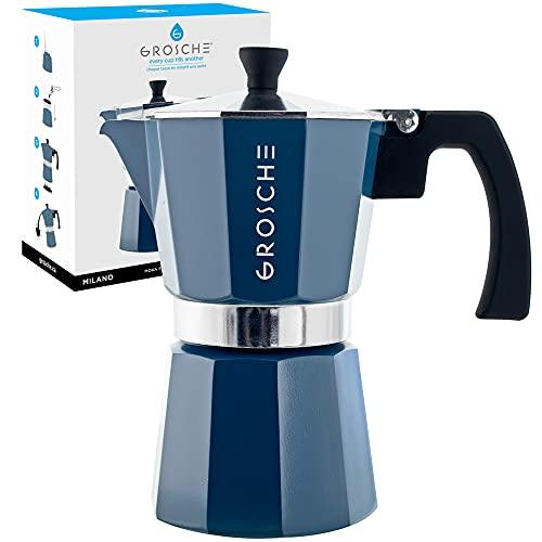 GROSCHE Milano Stovetop Espresso Maker Moka Pot 6 Espresso Cup - 9.3 oz, Blue - Expresso Coffee Maker Stove top Coffee Maker Moka Italian Espresso greca Coffee Maker Brewer Percolator