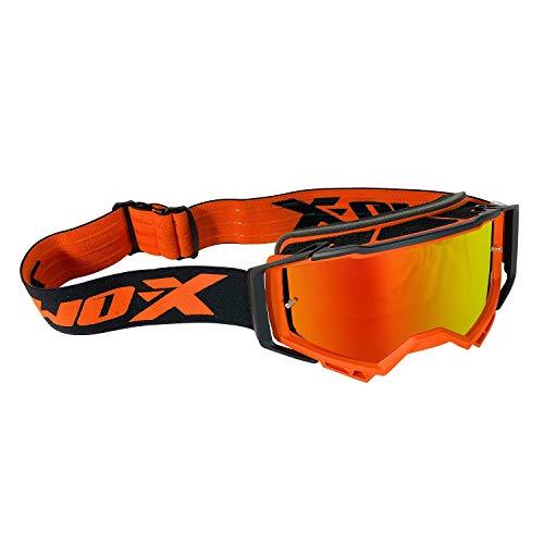 TWO-X ATOM Crossbrille orange - FURY verspiegelt iridium MX Brille Nasenschutz Motocross Enduro Spiegelglas Motorradbrille Anti Scratch MX Schutzbrille