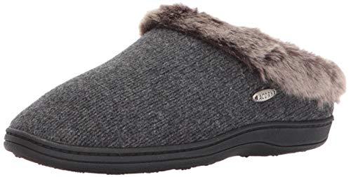 Acorn Women's Faux Fur Chinchilla Ragg Clog Slippers, Dark Charcoal Heather, 6.5-7. 5