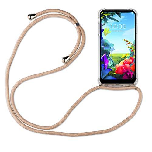 betterfon | LG K40S Handykette Smartphone Halskette Hülle mit Band - Schnur mit Hülle zum umhängen Handyhülle mit Kordel zum Umhängen für LG K40S Beige/Braun