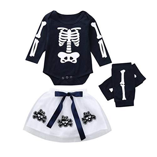 Halloween kostüm,Transwen Kleinkind Baby Mädchen Strampler Appliques Skull Rock Leggings Halloween kinderkostüme Spielanzug Outfits Kleider Set (90, Marine)
