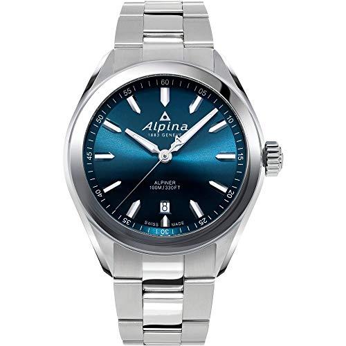 Alpina Men's Alpiner Swiss Quartz Sport Watch with Stainless Steel Strap, Silver, 21 (Model: AL-240NS4E6B)