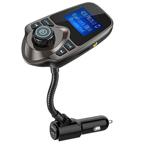 Nulaxy Bluetooth Car FM Transmitter Audio Adapter Receiver Wireless Handsfree Car Kit TF Card AUX 1.44 Display – KM18 Brown