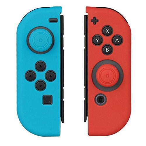 WindTeco Antiscivolo Cover Custodia Protettiva in Silicone con Thumbsticks Caps per Nintendo Switch Joy-Con (Rosso/Blu)