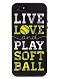 Inspired Cases - 3D Textured iPhone 5/5s/5SE Case - Rubber Bumper Cover - Protective Phone Case for Apple iPhone 5/5s/5SE - Live Love & Play Softball