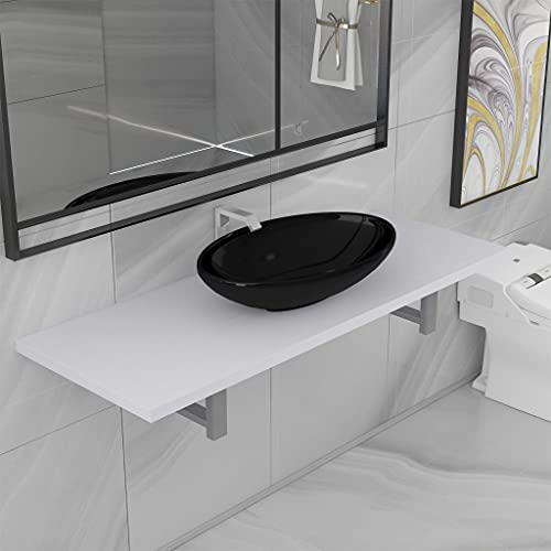 FAMIROSA Conjunto de Muebles de baño 2 Piezas cerámica blanco-9361