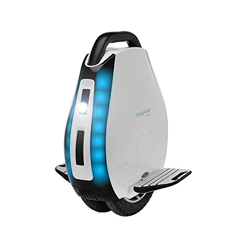 Swagtron SwagRoller Electric Unicycle: Multi-Terrain Dual Air-Filled Tires; Retractable Handle; App...