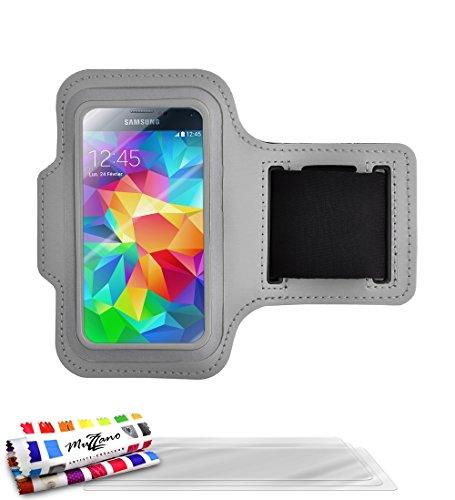 MUZZANO Tonic 433730 Sportarmband aus Neopren mit Anti-Rutsch, grau, 3er-Pack Displayschutzfolien für Samsung Galaxy S5