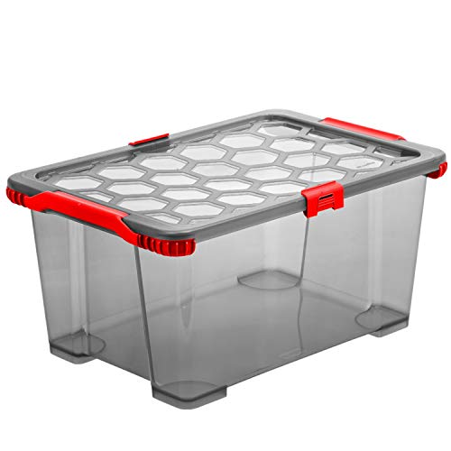 Rotho Evo Total Protection Aufbewahrungsbox 44l mit Deckel, Kunststoff (PP) BPA-frei, anthrazit/rot, 44l (59,0 x 39,5 x 28,0 cm)
