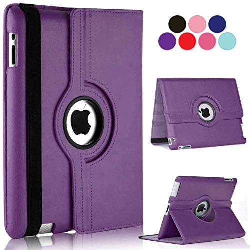 Vultic iPad Mini 5 (2019) / Mini 4 (2015) Case - 360 Degree Rotating Stand [Auto Sleep/Wake] Leather Smart Cover Case for Apple iPad Mini 5 / iPad Mini 4 (Purple)